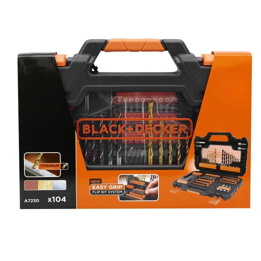 Kit de Brocas e Bits com 104 peças A7230 - Black + Decker