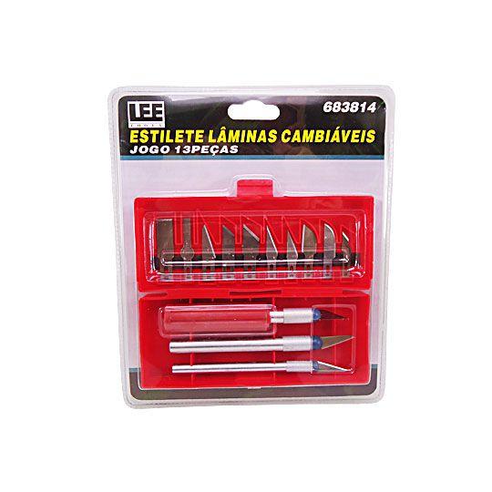 Kit Estilete Lâminas Cambiáveis 13 Peças Lee Tools 683814