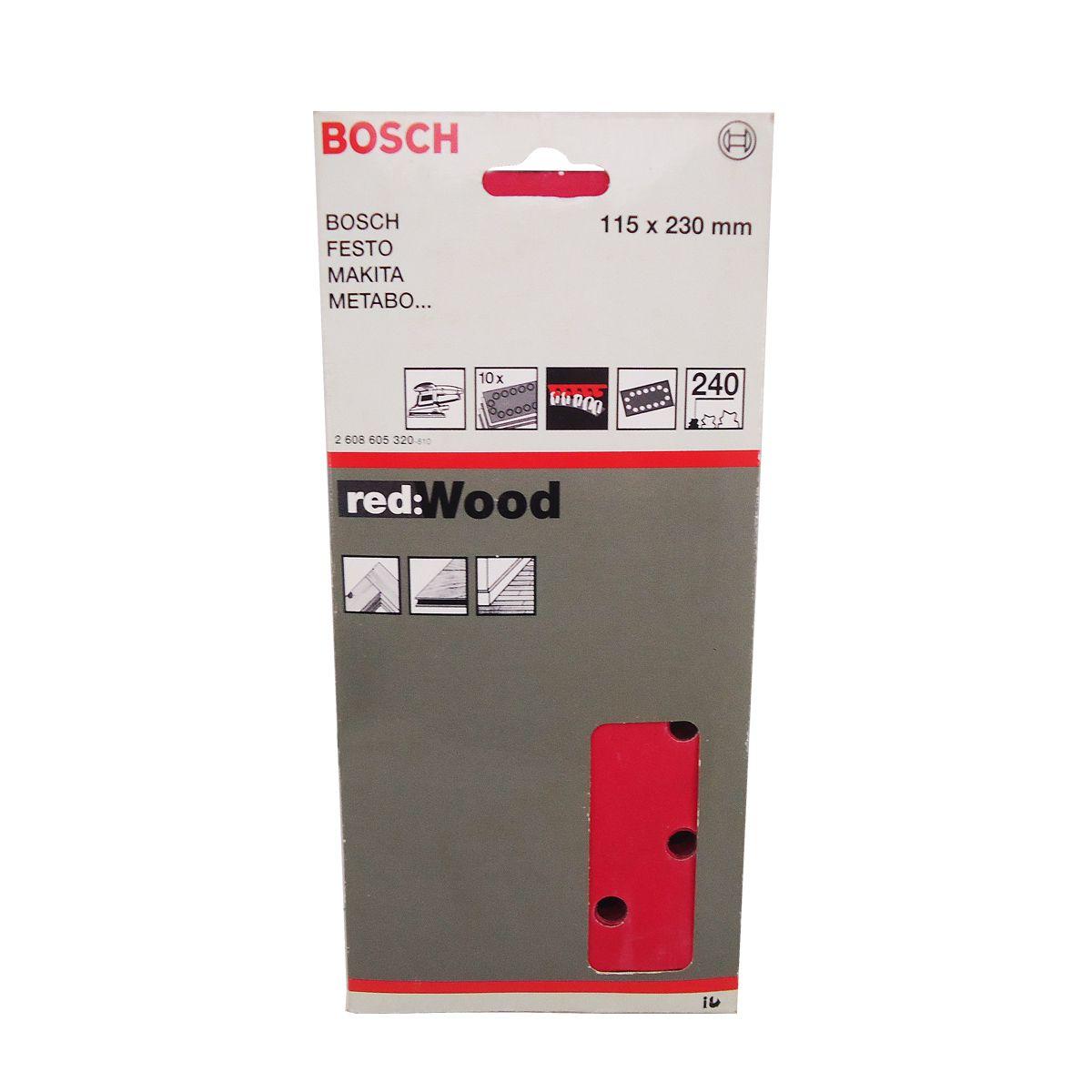 Lixa Perfurada GR240 c/ 10 Unidades, Bosch 2608605320, Vermelho