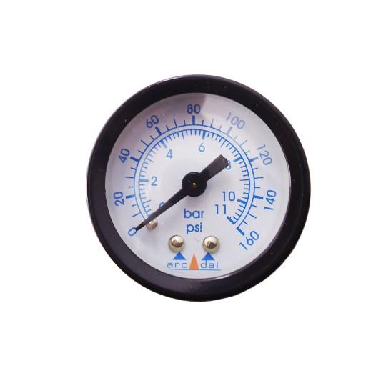 "Manômetro Entrada Horizontal Rosca NPT 1/8"". 0 à 160 psi"
