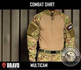 Combat Shirt Multicam Com 2 Bolsos C/velcro Bravo