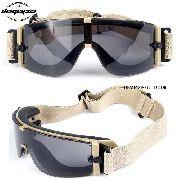 Óculos Balístico Proteção X800 3 Lentes + Estojo TAN