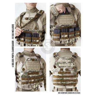 Colete Tático Militar TEMPLÁRIO TACTICAL DACS MULTICAM, PRETO OU COYOTE + 4 BOLSOS 556
