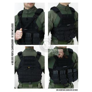 Colete Militar TEMPLÁRIO TACTICAL DACS PRETO + 4 PORTA CARREGADORES 556 CORDURA