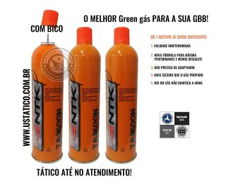 Green Gás Airsoft 3x Tubo P/ Pistola Gbb Aeg Taikoon Nautika