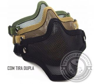 Máscara De Tela Airsoft Paintball Half Face Tira Dupla
