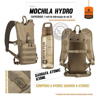 Mochila de Hidratação Camelbak Hydro Invictus + Garrafa Atomic COYOTE