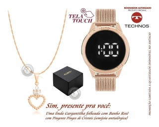 Relógio Feminino Digital Led Euro Touch Original  + Colar