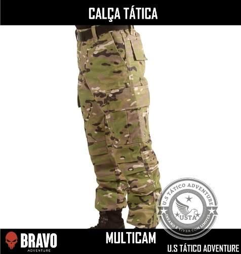 Calça Tática Militar Camuflada Multicam Bravo