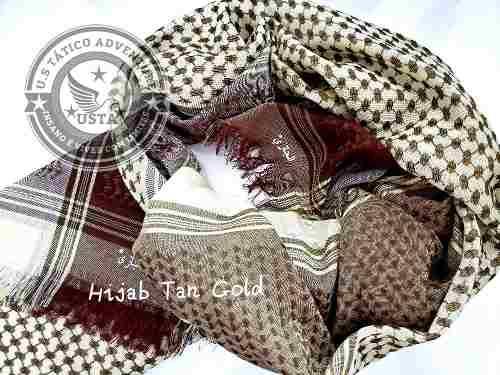 Shemagh Lenço Hijab Árabe Muçulmano Tan Gold Exclusivo