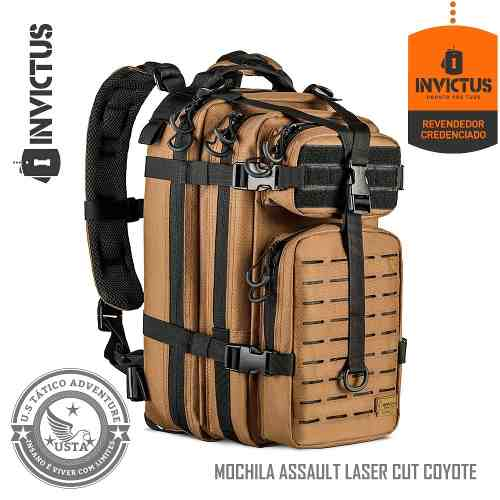 Mochila Assault Laser Cut Lc Coyote Preta Invictus Original