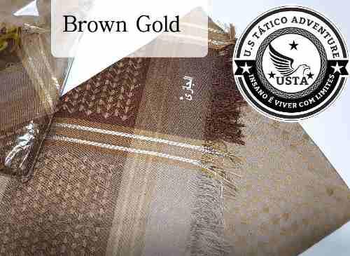 Shemagh Lenço Hijab Árabe Muçulmano Brown Gold Exclusivo