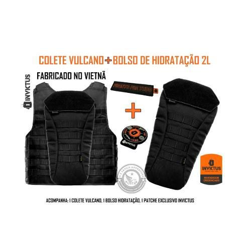 448c5bd57 Colete Capa Balística Vulcano 3a + Bolso Hidratação Invictus - US TÁTICO  ADVENTURE ...