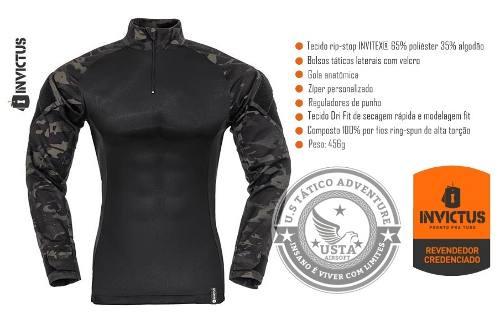 Camisa Combat Shirt Raptor Invictus Original Multicam Black