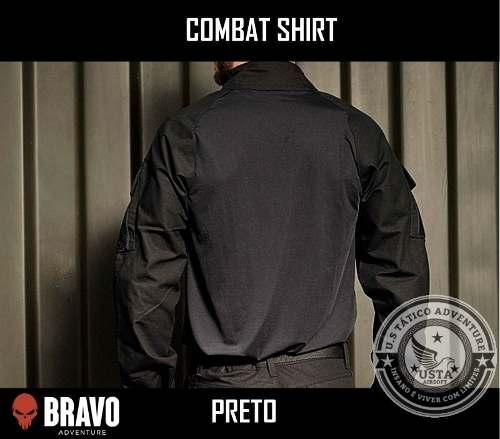 Combat Shirt Preta Com 2 Bolsos C/velcro Bravo