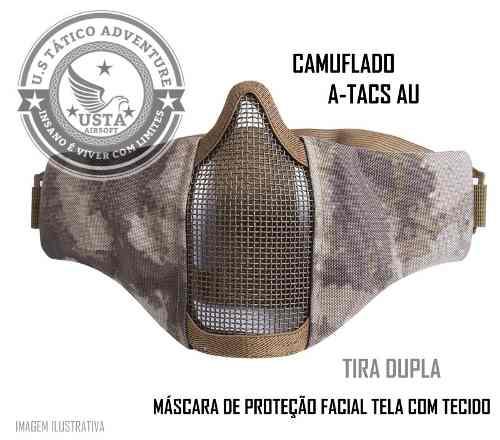 Máscara Proteção Tecido Atacs Au Airsoft Paintball Camuflada