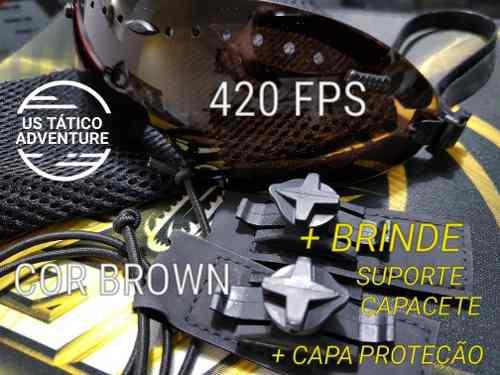 Óculos Balístico Wosport + Brinde Suporte Capacete BROWN