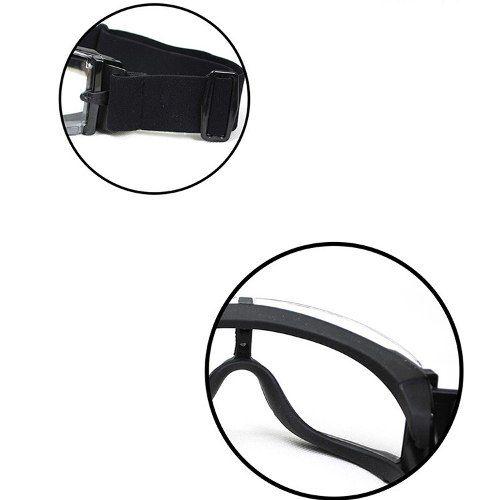 Óculos Balístico Proteção X800 3lentes + Estojo Preto