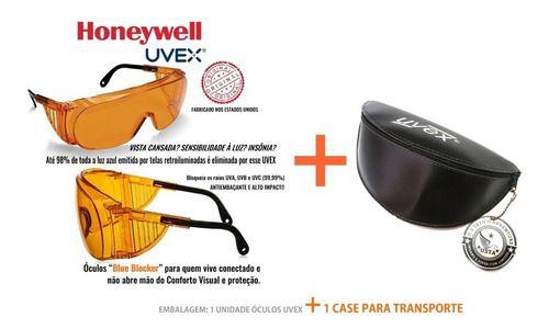 Óculos Laranja Uvex Antiembaçante Bloqueador Luz Azul + Case