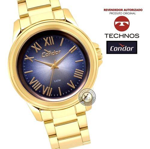Relógio Dourado Azul Romano Co2039 Aço Garantia Technos