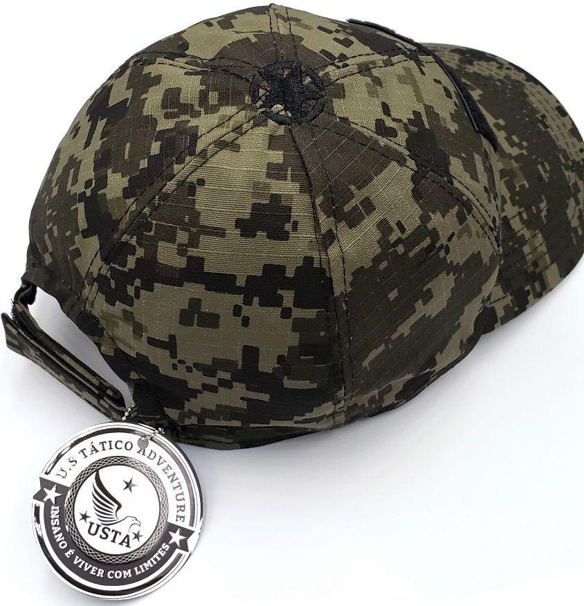 Boné Militar Tático Digital Tiger Jungle Velcro Ajustável