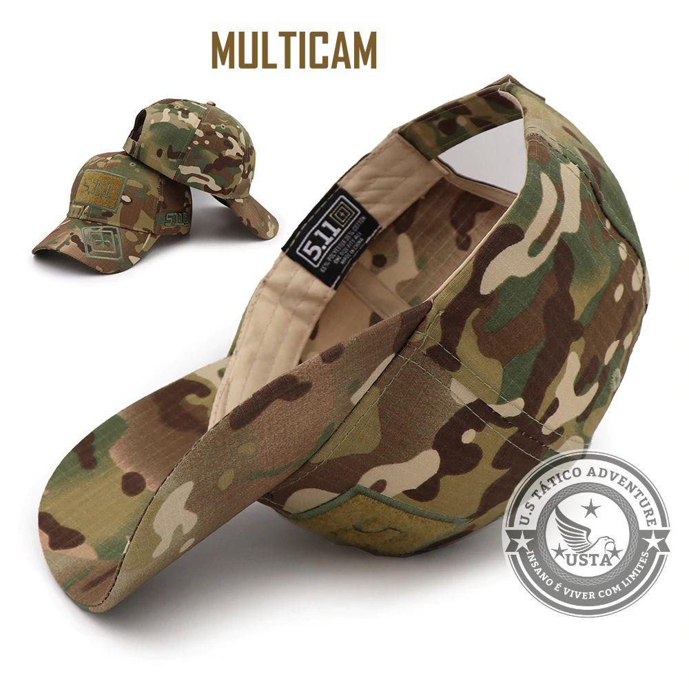 Boné Tático Militar Ripstop Multicam Velcro Ajustável
