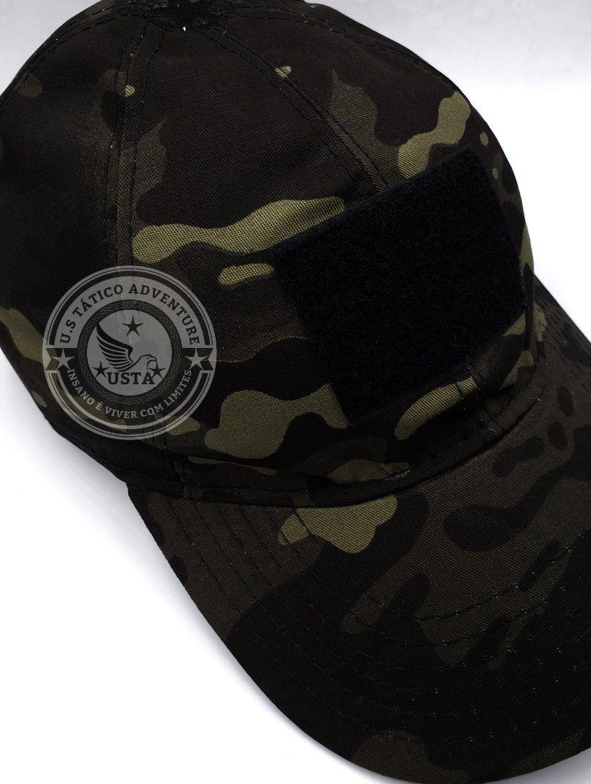 Boné Tático Militar T3 Camo Multicam Black Velcro Ajustável
