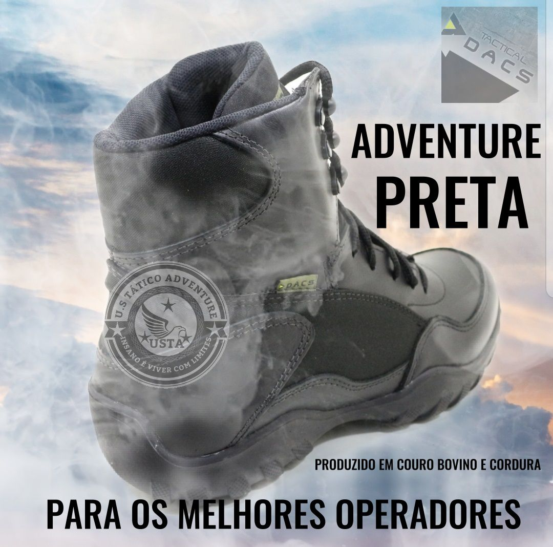 Bota Coturno Tático Adventure Tactical Dacs Couro Original
