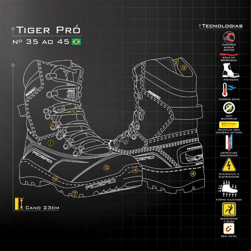 Bota Tática Militar Tiger Pro Café Acero