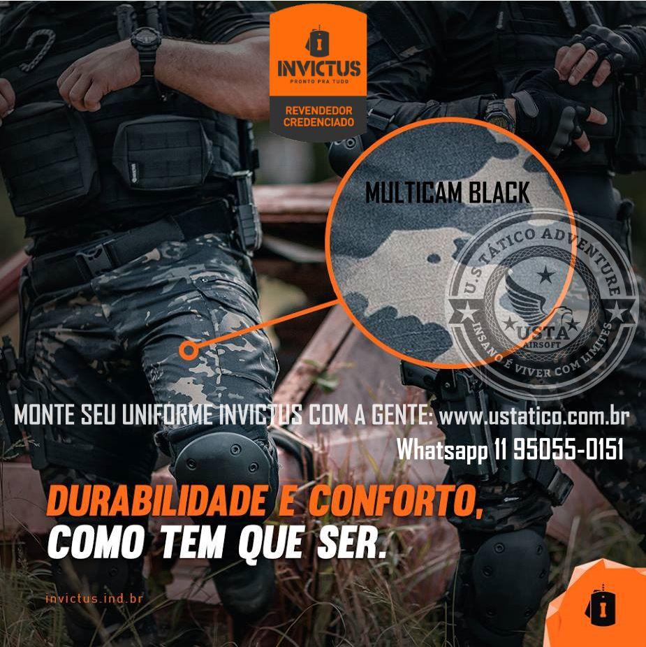 Calça Tática Combat 09 Bolsos Invictus Militar Original MULTICAM BLACK
