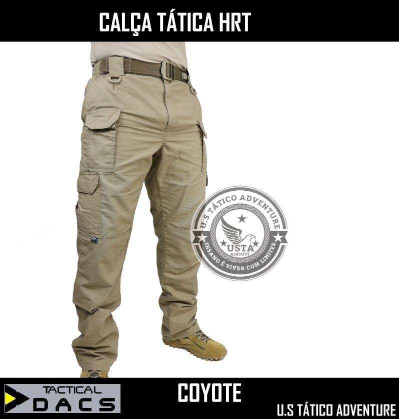 Calça Tática Militar Hrt - Ripstop COYOTE OU VERDE - Tactical Dacs