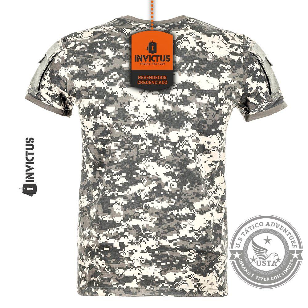 Camiseta Army Digital Acu Invictus Tática Combate Velcro