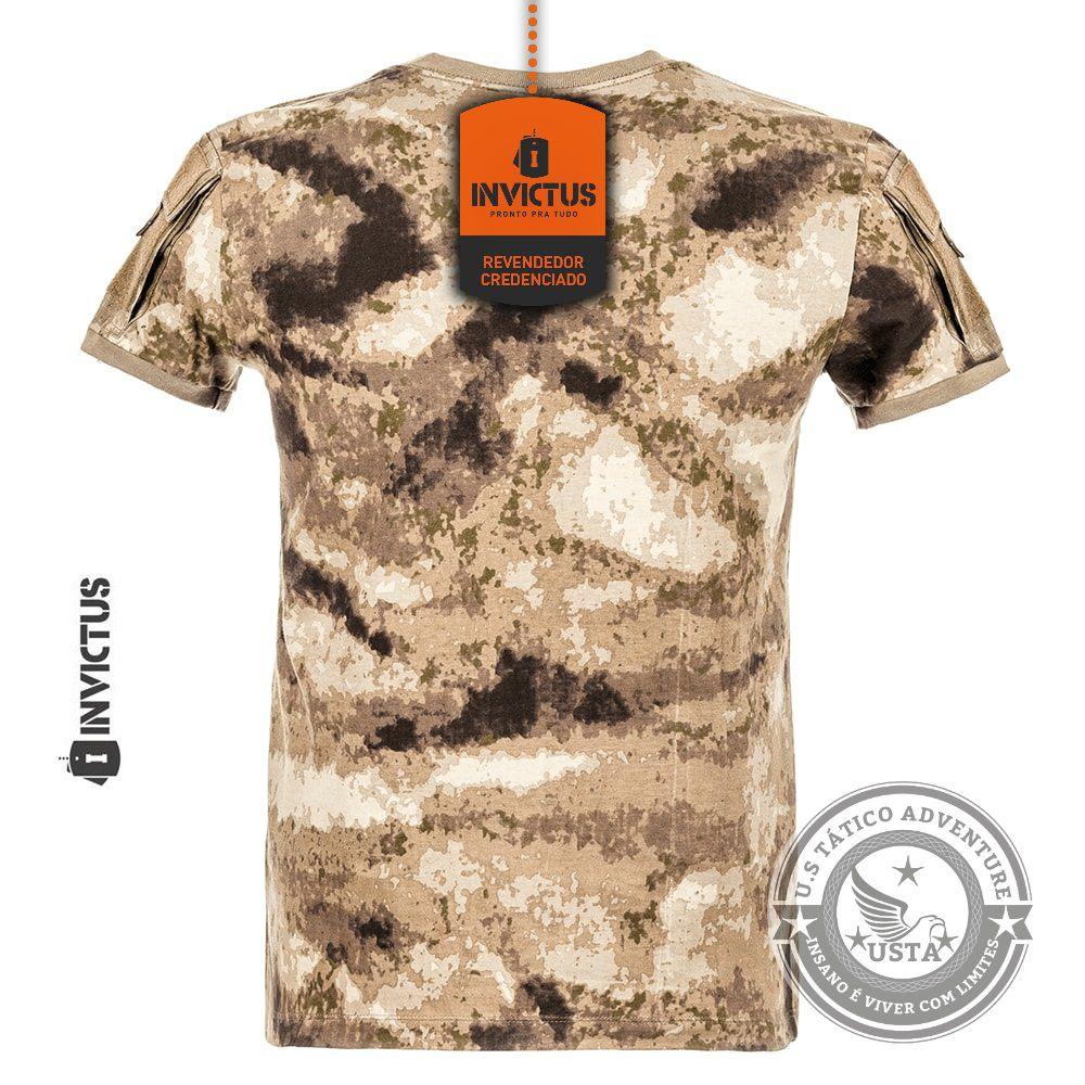 Camiseta Tshirt Army Atacs Au Invictus Tática Militar Velcro