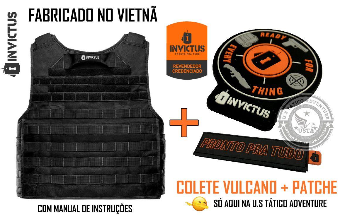 CAPA DE COLETE VULCANO 3A INVICTUS PRETO