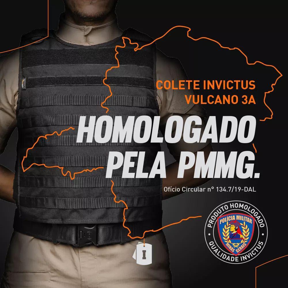 Colete Militar Modular Vulcano 3a Invictus Balístico Preto