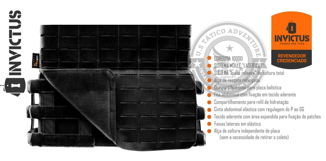 Colete Tático Militar e CrossFit Plate Carrier APOLO Invictus