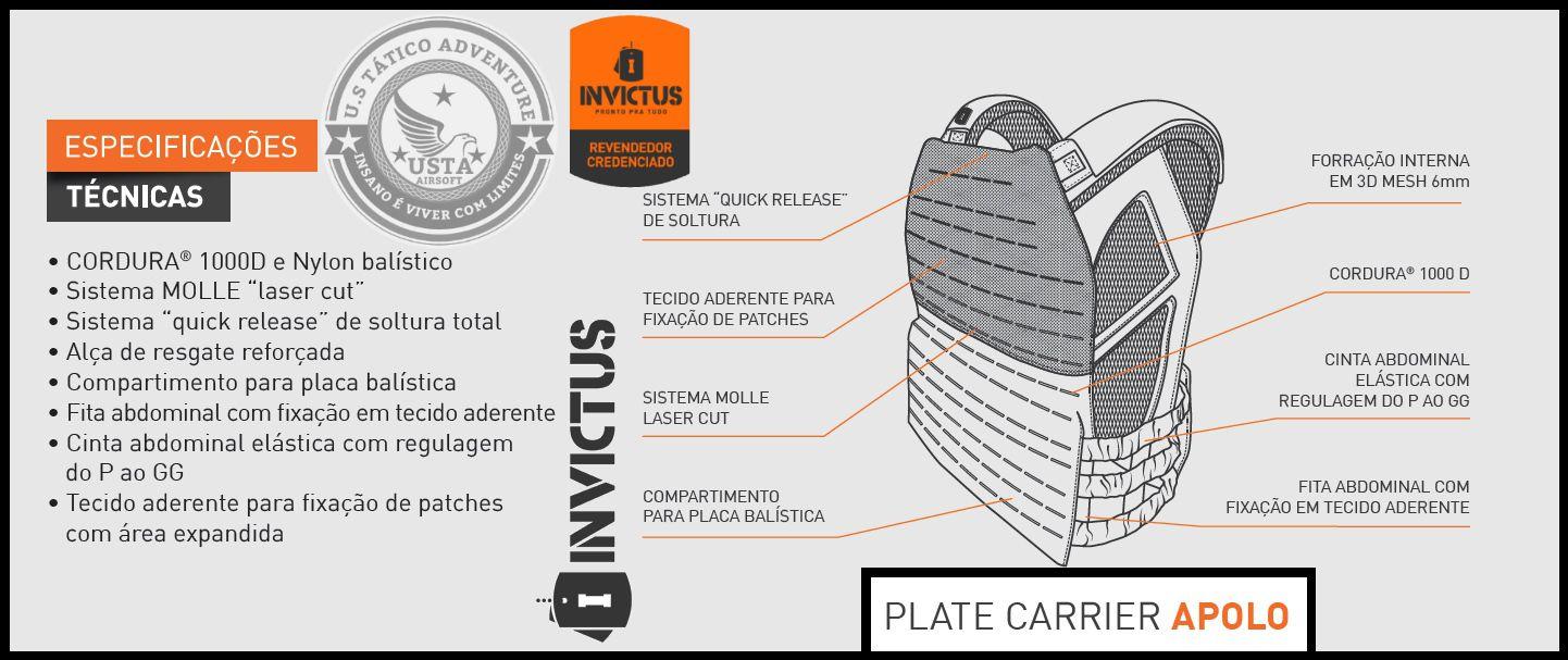 Colete Tático Plate Carrier APOLO Invictus PRETO