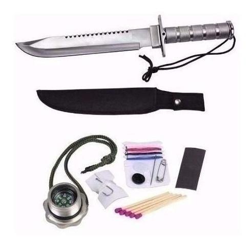 Faca Lua Tek Aço Inox SLK-450 + Kit De Sobrevivência