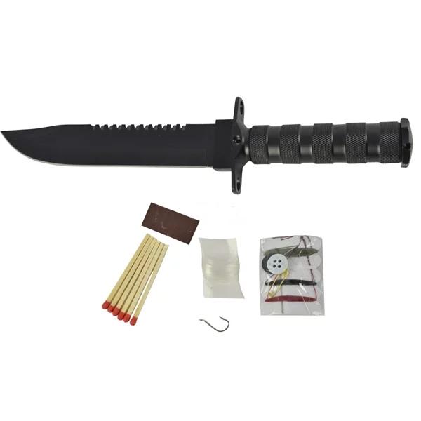 Faca Lua Tek Aço Inox SLK-450 Preta + Kit De Sobrevivência