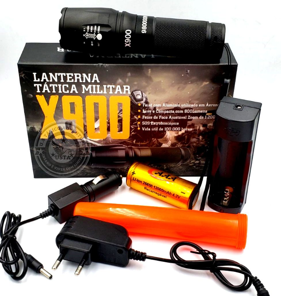 Lanterna Led Super Potente Zoom Recarregável + Lanterna Usb