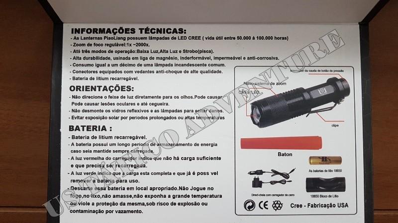 Lanterna Tática De Led Cree Q5 Recarregável 800.000 Lumens LL81721