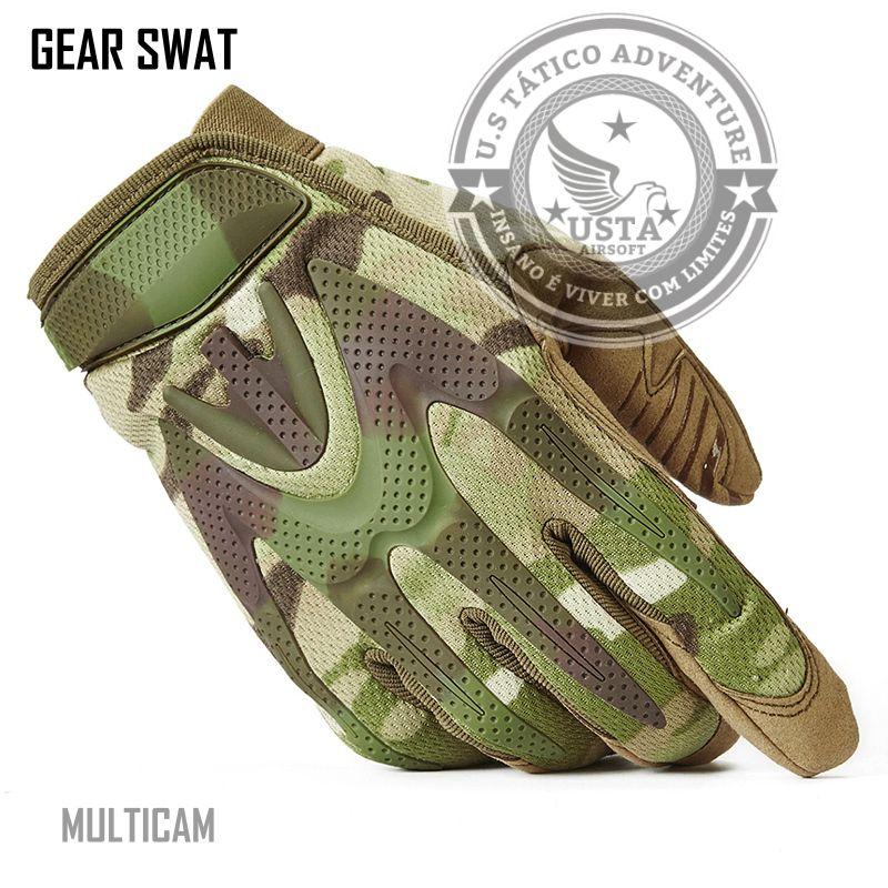 Luva Tática Militar Airsoft Paintball Camuflada Multicam Gear Swat MÉDIO