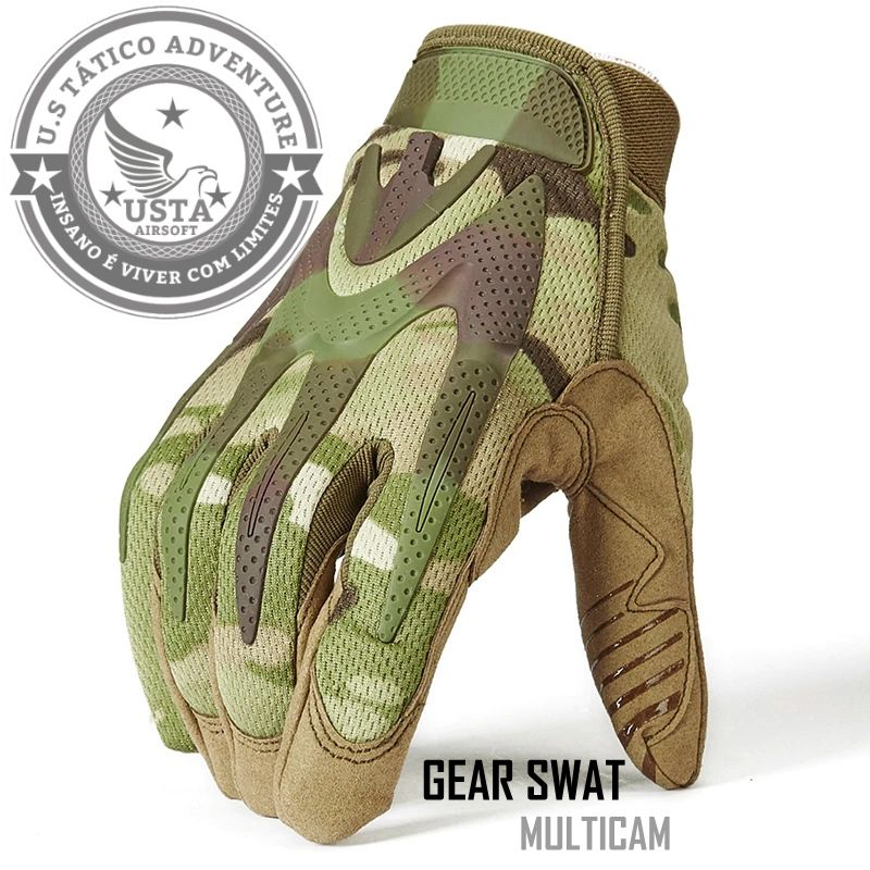 Luva Tática Militar Airsoft Paintball Camuflada Multicam Gear Swat
