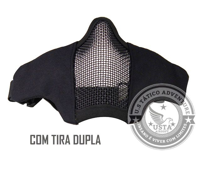 Máscara Proteção Tela Com Tecido Preta TIRA DUPLA - Meia Face Airsoft