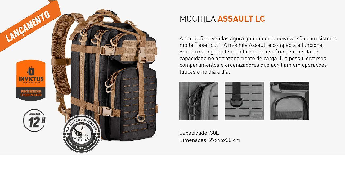 Mochila Assault LASER CUT PRETA COM COYOTE INVICTUS