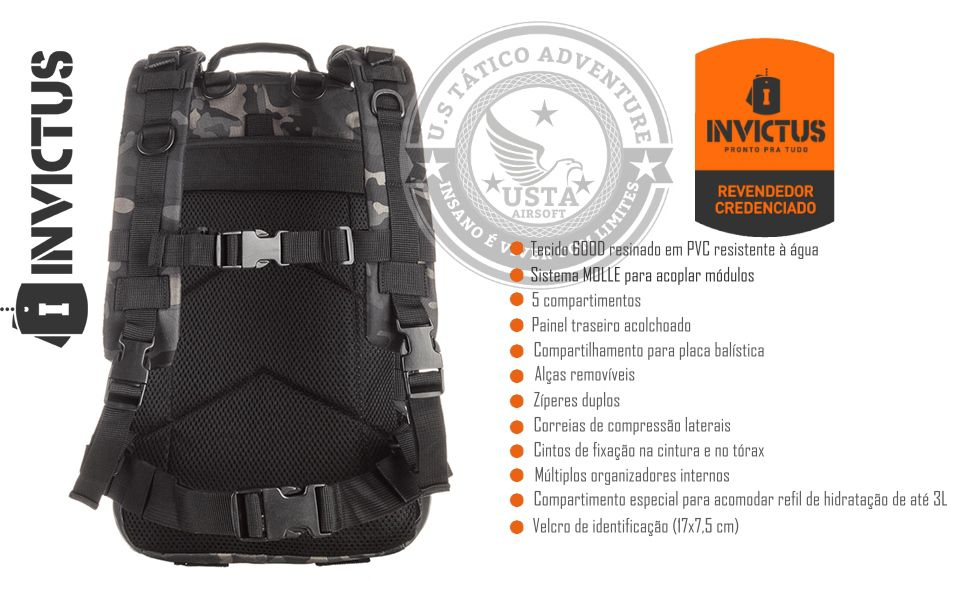 Mochila Assault Multicam Black Modular INVICTUS