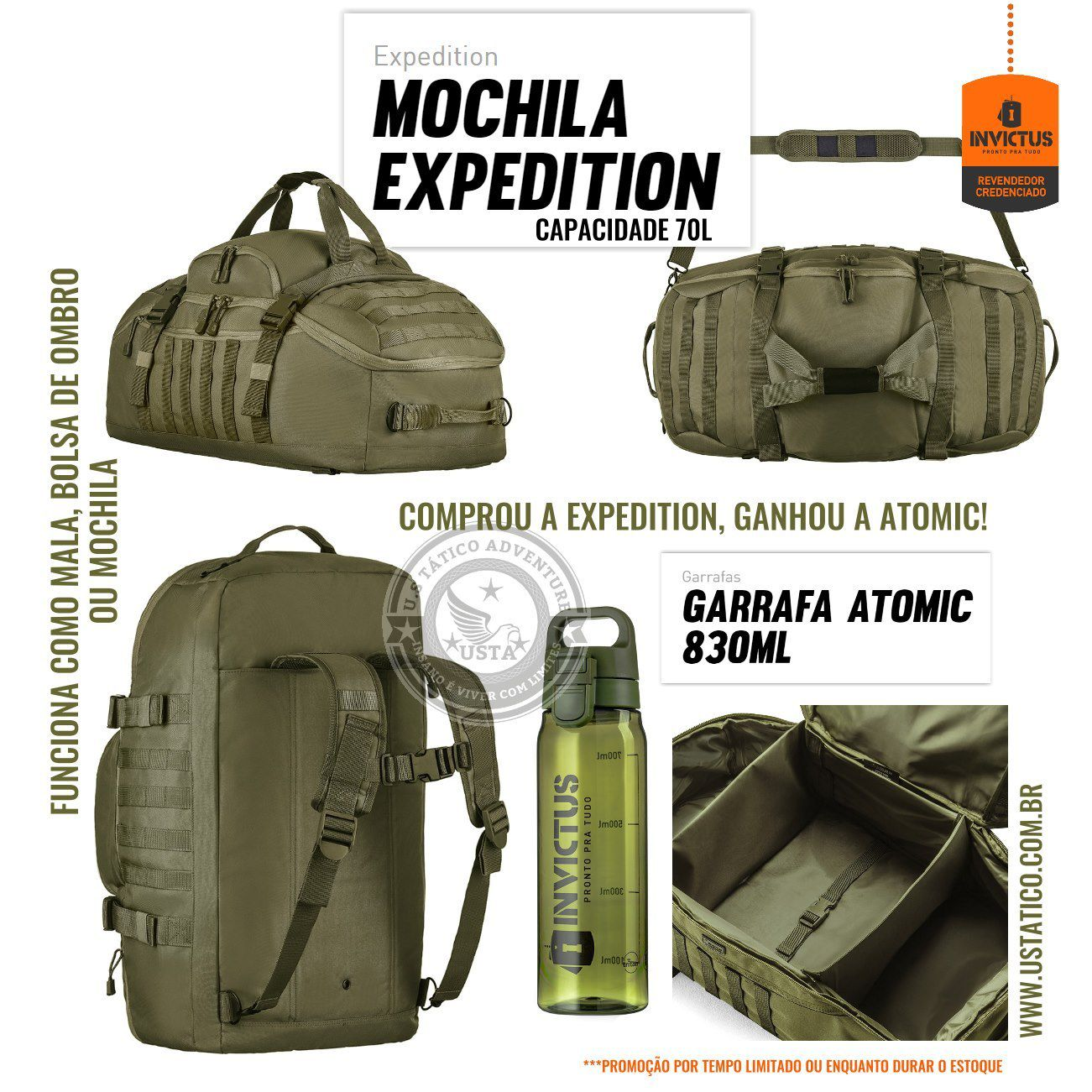 Mochila / Mala Verde Oliva Expedition 70l Invictus