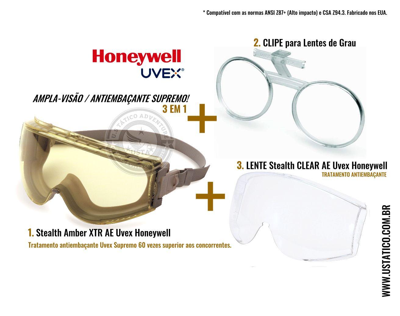 Oculos Airsoft Amplavisao Uvex Amber + Clipe Grau + Lente