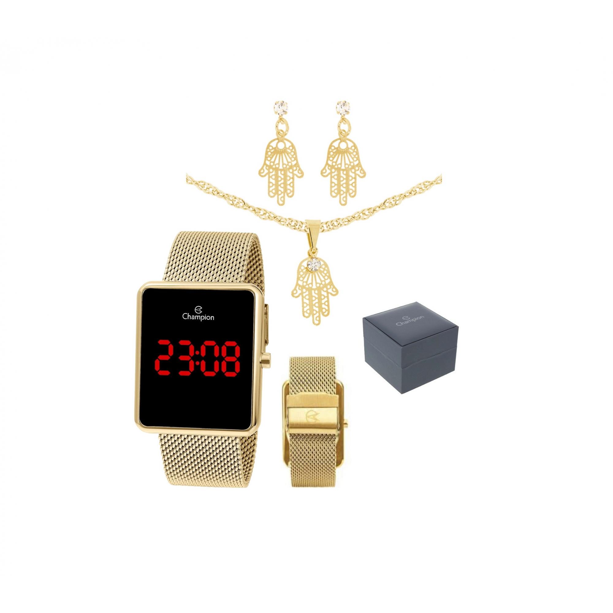 Relógio Digital Dourado Led Ch40080V + Semijoia Champion Original