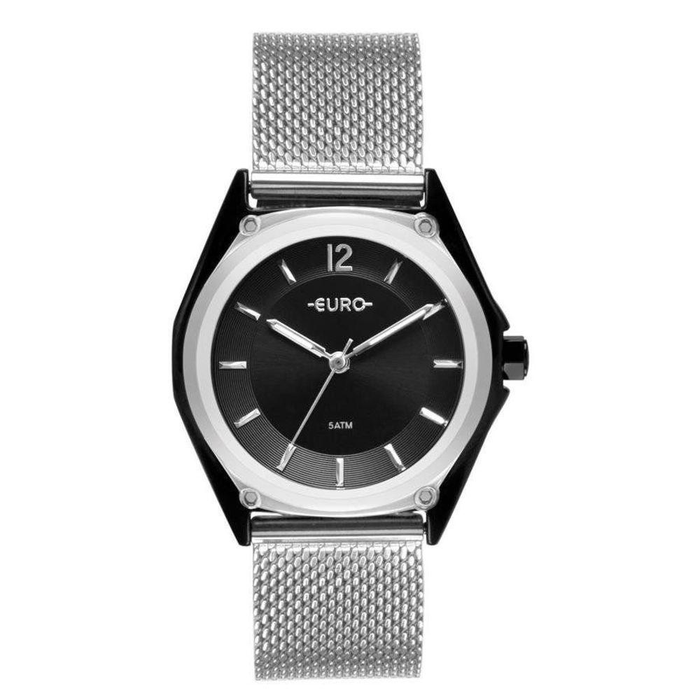 Relógio Euro Feminino Colormix Geometric Bicolor Preto/Prata